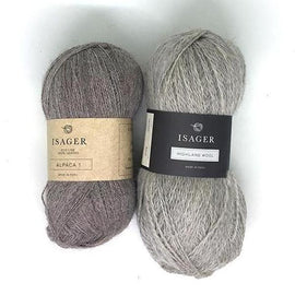 Yarn kit for Daggry hat and shawl in beige, Isager Alpaca and Highland wool yarn.
