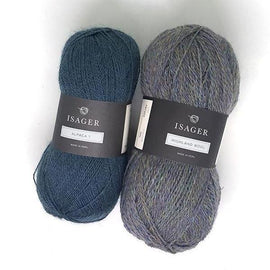 Yarn kit for Daggry hat and shawl in blue and grey, Isager Alpaca and Highland wool yarn.