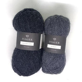 Yarn kit for Daggry hat and shawl in dark grey, Isager Alpaca and Highland wool yarn.