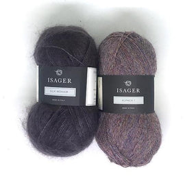 Yarn kit for Damask sweater in original shale, purple color, Isager Alpaca and Silk Mohair yarn