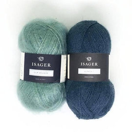 Yarn kit for Damask sweater in blue and green colors, Isager Alpaca and Silk Mohair yarn