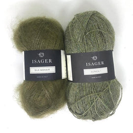 Yarn kit for Damask sweater in green colors, Isager Alpaca and Silk Mohair yarn
