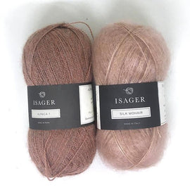 Yarn kit for Damask sweater in peach and rose colors, Isager Alpaca and Silk Mohair yarn
