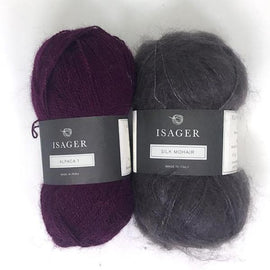 Yarn kit for Damask sweater in purple colors, Isager Alpaca and Silk Mohair yarn