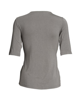 Dea top with knot, elegant gray t-shirt with knot in front and 3/4 length sleeves, made in modal, seen from the back
