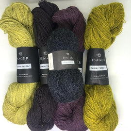 Yarn kit for Dervish sweater in original grey and yellow colors, Isager Highland wool and Tvinni yarn