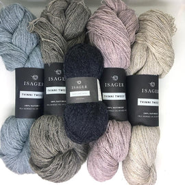Yarn kit for Dervish sweater in light grey, blue and rose colors, Isager Highland wool and Tvinni yarn