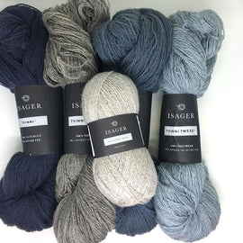 Yarn kit for Dervish sweater in beige and blue colors, Isager Highland wool and Tvinni yarn