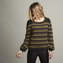 Dervish striped sweater with balloon sleeves, black with stripes in yellow and purple, made in Isager Highland Wool and Tvinni, the front