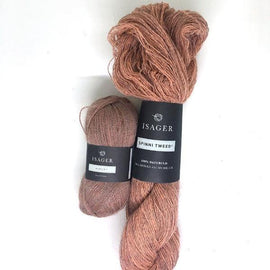 Yarn kit for Dicte sweater in original peach colors, Isager Spinni and alpaca yarn