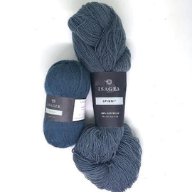 Yarn kit for Dicte sweater in grey blue colors, Isager Spinni and alpaca yarn