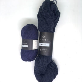 Yarn kit for Dicte sweater in navy blue colors, Isager Spinni and alpaca yarn