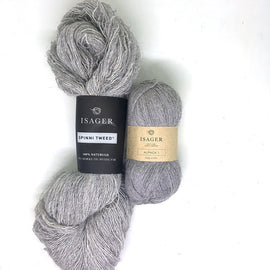 Yarn kit for Dicte sweater in grey colors, Isager Spinni and alpaca yarn
