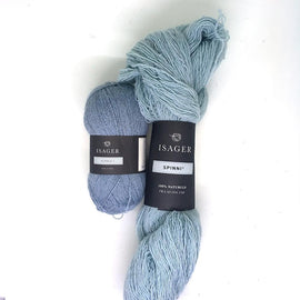 Yarn kit for Dicte sweater in light blue colors, Isager Spinni and alpaca yarn