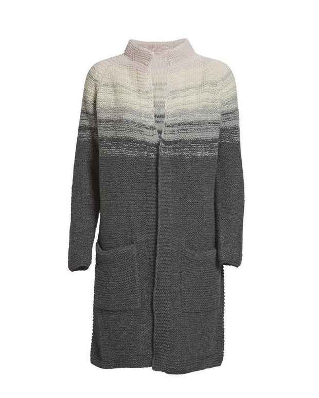 Long and cozy knitted cardigan with dip dye color change from light rose to dark grey, knitted at large needles with Önling no 2 merino wool