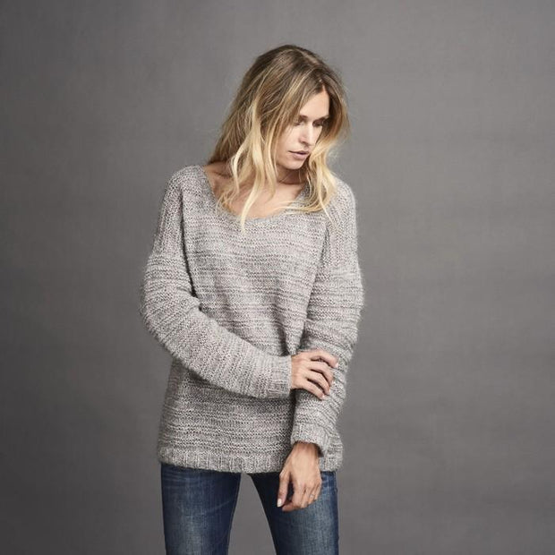 Dora oversize and cozy knitted grey sweater, made in Isager Silk Mohair and Tvinni merino wool