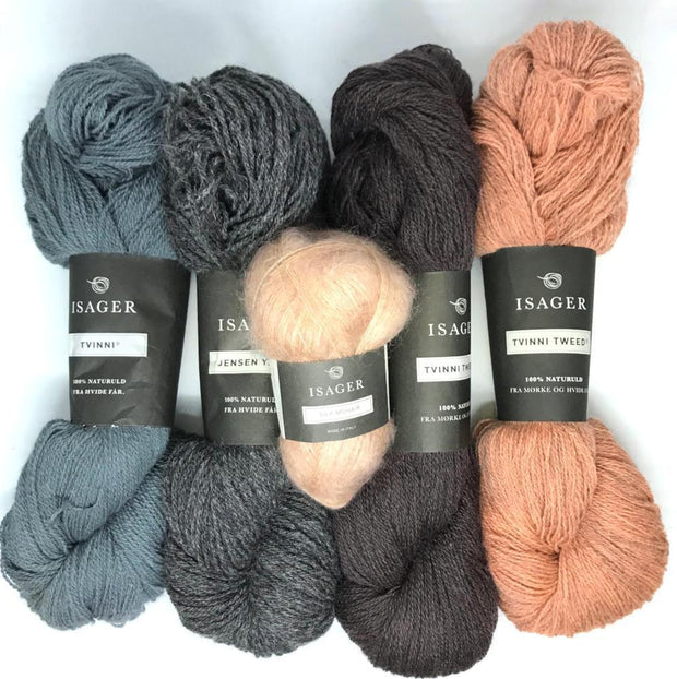 Yarn kit for Draka icelandic sweater in grey, blue, peach colors, Isager Jensen, Tvinni and Silk mohair yarn
