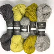 Yarn kit for Draka icelandic sweater in grey and lime colors, Isager Jensen, Tvinni and Silk mohair yarn