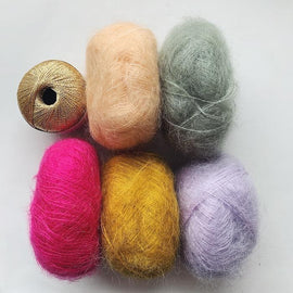 Yarn kit for Fluffy fluffy sweater, in 5 colors Mohair.