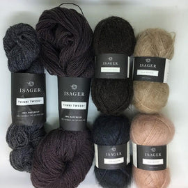 Yarn kit for Himalaya sweater by Helga Isager, original dark grey and beige Isager Spinni and Silk Mohair