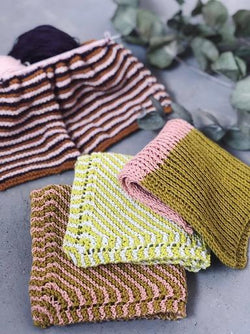 Yarnkit for Katrine's 3 favourite dishcloths in organic yarn retrills diagonal