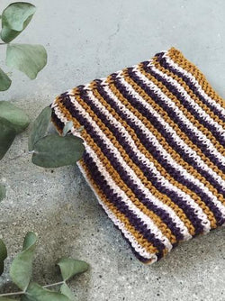 Yarnkit for Katrine's 3 favourite dishcloths in organic yarn stripes I-cord