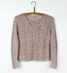 Lace beige knitted sweater designed by Helga Isager, knitted in Isager Spinni yarn