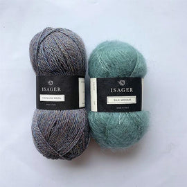 Yarn kit for Limoncello knitted sweater, Isager yarn Highland wool and Silk mohair in blue-green