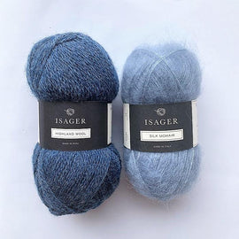 Yarn kit for Limoncello knitted sweater, Isager yarn Highland wool and Silk mohair in blue
