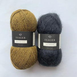 Yarn kit for Limoncello knitted sweater, Isager yarn Highland wool and Silk mohair in yellow and grey