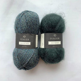 Yarn kit for Limoncello knitted sweater, Isager yarn Highland wool and Silk mohair in green