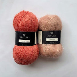 Yarn kit for Limoncello knitted sweater, Isager yarn Highland wool and Silk mohair in red and peach