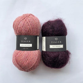 Yarn kit for Limoncello knitted sweater, Isager yarn Highland wool and Silk mohair in rose