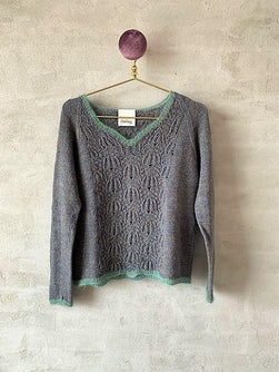 Limoncello light knitted sweater with lace pattern, knit in Isager yarn
