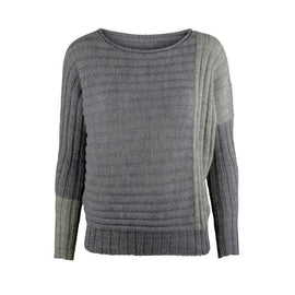 Lise grey-blue knitted sweater designed by Helga Isager, knitted in Isager Alpaca and Highland Silk