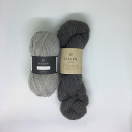 Yarnkit forLise sweater by Helga Isager, grey/brown Isager Alpaca and Highland Wool
