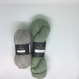 Yarnkit forLise sweater by Helga Isager, grey and green Isager Alpaca and Highland Wool