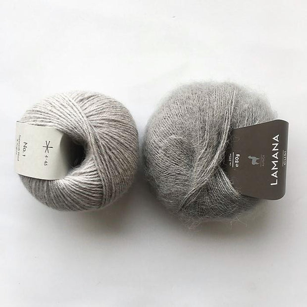 Yarn kit for Magnum sweater, Önling No 1 merino wool and Cusi Alpaca in light grey