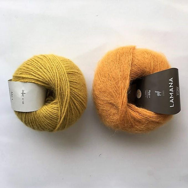 Yarn kit for Magnum sweater, Önling No 1 merino wool and Cusi Alpaca in curry yellow