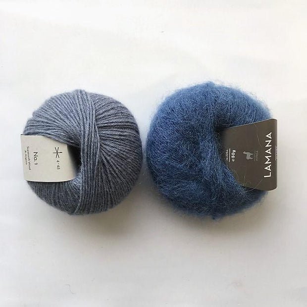 Yarn kit for Magnum sweater, Önling No 1 merino wool and Cusi Alpaca in jeans blue