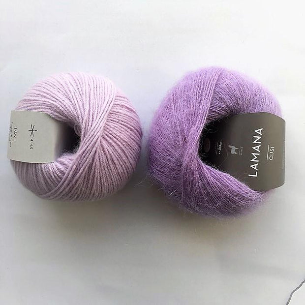 Yarn kit for Magnum sweater, Önling No 1 merino wool and Cusi Alpaca in light purple