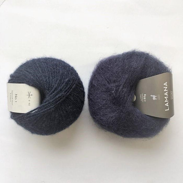 Yarn kit for Magnum sweater, Önling No 1 merino wool and Cusi Alpaca in navy blue