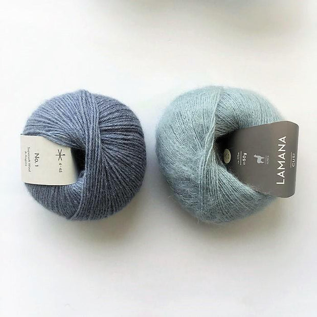 Yarn kit for Magnum sweater, Önling No 1 merino wool and Cusi Alpaca in pigeon blue/light blue
