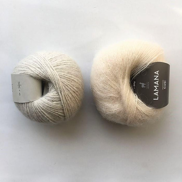 Yarn kit for Magnum sweater, Önling No 1 merino wool and Cusi Alpaca in very light grey