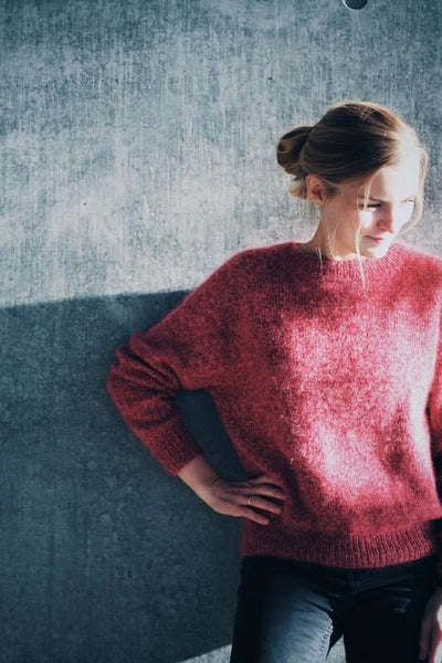 No Frills sweater by PetiteKnit, red knitted sweater seen on model
