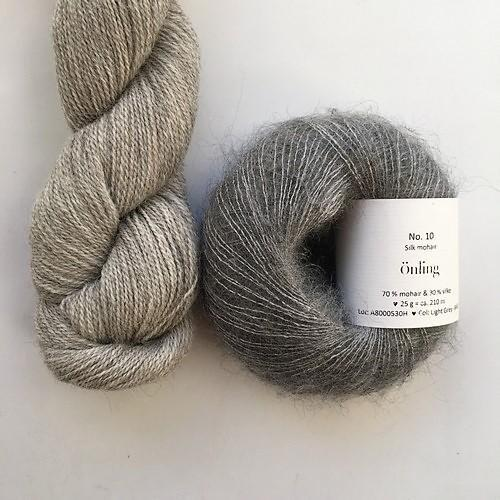 Yarn kit with Alpaca 2 from Isager yarn and Silk Mohair (Önling No 10), beige and grey