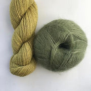 Yarn kit with Alpaca 2 from Isager yarn and Silk Mohair (Brushed Lace from Mohair by Canard), light green