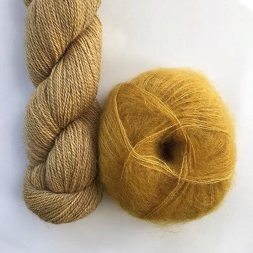 Yarn kit with Alpaca 2 from Isager yarn and Silk Mohair (Brushed Lace from Mohair by Canard), both yellow