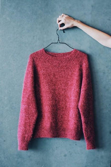 Ingen Dikkedarer sweater, red knitted sweater designed by Petiteknit