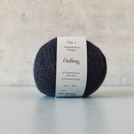 Önling No 1 is sustainable yarn made of merino wool and angora, charcoal